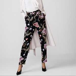EXPRESS High Waisted Floral Tie Waist Ankle Pant 6